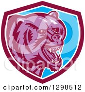 Clipart Of A Retro Woodcut Red Eyed Purple Vicious Grizzly Bear In A Maroon White And Blue Shield Royalty Free Vector Illustration