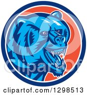 Clipart Of A Retro Woodcut Red Eyed Vicious Grizzly Bear In A Blue White And Orange Circle Royalty Free Vector Illustration