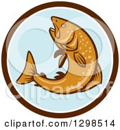 Clipart Of A Retro Rainbow Trout Fish Jumping In A Brown White And Blue Circle Royalty Free Vector Illustration