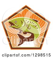 Clipart Of A Retro Leaping Trout Fish In A Pentagon Of Sunshine Royalty Free Vector Illustration by patrimonio