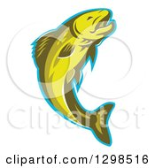 Clipart Of A Retro Leaping Trout Fish With A Blue Outline Royalty Free Vector Illustration by patrimonio