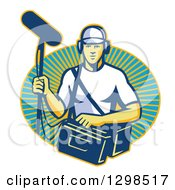 Clipart Of A Retro White Male Film Crew Sound Man Emerging From A Sunshine Oval Royalty Free Vector Illustration
