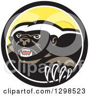 Clipart Of A Retro Honey Badger In A Black White And Yellow Circle Royalty Free Vector Illustration by patrimonio