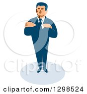 Clipart Of A Retro White Male Secret Agent Standing With Folded Arms Royalty Free Vector Illustration by patrimonio