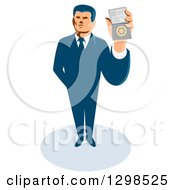 Clipart Of A Retro White Male Secret Agent Holding Up An Id Badge Royalty Free Vector Illustration by patrimonio
