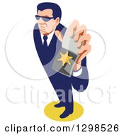 Clipart Of A Retro White Male Secret Agent Wearing Sunglasses And Holding Up An Id Badge Royalty Free Vector Illustration