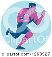 Clipart Of A Retro Male Rugby Player Running And Fending In A Blue Circle Royalty Free Vector Illustration