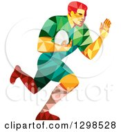 Clipart Of A Low Poly Rugby Player Running Royalty Free Vector Illustration
