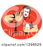 Clipart Of A Retro Male Rugby Player Fending In A Red Oval Royalty Free Vector Illustration