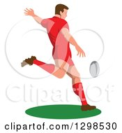 Clipart Of A Retro Male Rugby Player Kicking Royalty Free Vector Illustration