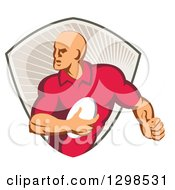 Clipart Of A Retro Male Rugby Player Running In A Taupe Ray Shield Royalty Free Vector Illustration
