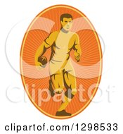 Clipart Of A Retro Male Rugby Player Running In An Orange Sunshine Oval Royalty Free Vector Illustration
