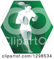 Clipart Of A Retro Female Rugby Player Running In A Green Hexagon Royalty Free Vector Illustration