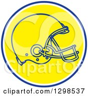Clipart Of A Football Helmet In A Blue White And Yellow Circle Royalty Free Vector Illustration