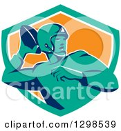 Clipart Of A Retro Male American Football Player Throwing In A Turquoise White And Orange Shield Royalty Free Vector Illustration