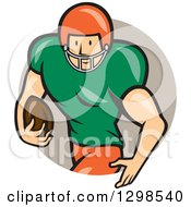 Clipart Of A Cartoon White Male American Football Runningback Player Emerging From A Taupe Circle Royalty Free Vector Illustration