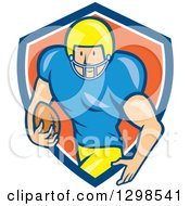 Clipart Of A Cartoon White Male American Football Runningback Player Emerging From A Blue White And Orange Shield Royalty Free Vector Illustration