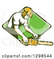 Poster, Art Print Of Retro White Male Arborist Using A Chainsaw In A Green And White Diamond