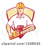 Clipart Of A Retro White Male Arborist Using A Chainsaw And Emerging From A Red And Yellow Sunshine Shield Royalty Free Vector Illustration