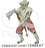 Cartoon Orc Fighting With A Tomahawk