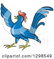 Clipart Of A Cartoon Angry Pointing Blue Rooster Royalty Free Vector Illustration