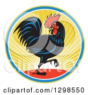 Clipart Of A Retro Marching Black Rooster In A Circle Of Sunshine Royalty Free Vector Illustration by patrimonio