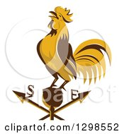 Clipart Of A Retro Crowing Rooster On A Weather Vane Royalty Free Vector Illustration