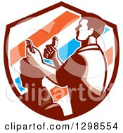 Clipart Of A Retro Male Barber Cutting A Clients Hair With Clippers In A Barber Pole Striped Shield Royalty Free Vector Illustration