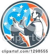 Clipart Of A Retro Male Barber Cutting A Clients Hair With Clippers In An American Flag Circle Royalty Free Vector Illustration