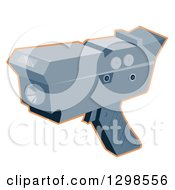 Clipart Of A Police Radar Gun Speed Checker Outlined In Orange Royalty Free Vector Illustration