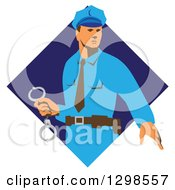 Clipart Of A Retro White Male Police Officer Holding Cuffs In A Blue Diamond Royalty Free Vector Illustration