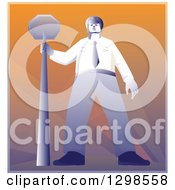 Clipart Of A Retro Police Offier Standing With A Stop Sign Royalty Free Vector Illustration