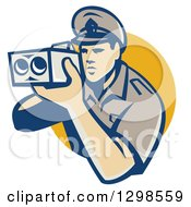 Retro White Male Police Officer Using A Speed Radar Camara And Emerging From A Yellow Circle