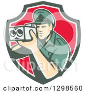 Clipart Of A Retro White Male Police Officer Using A Speed Radar Camara In Green White And Red Shield Royalty Free Vector Illustration