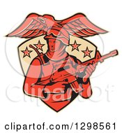 Clipart Of A Red American Solder Swat Police Man With A M4 Carbine Rifle And Eagle In A Shield Royalty Free Vector Illustration