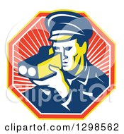Clipart Of A Retro Male Police Officer Using A Speed Radar Camara In A Ray Octagon Royalty Free Vector Illustration