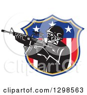 Clipart Of A Retro American Soldier Swat Police Man With An M4 Carbine Rifle In An American Shield Royalty Free Vector Illustration