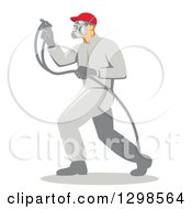 Clipart Of A Retro Male Painter Using A Spray Gun In Profile Royalty Free Vector Illustration
