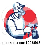 Clipart Of A Retro Male Painter Using A Spray Gun And Emerging From A Red Circle Royalty Free Vector Illustration