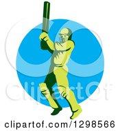 Clipart Of A Retro Green Cricket Batsman Over A Blue Circle Royalty Free Vector Illustration