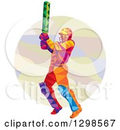Clipart Of A Colorful Low Poly Cricket Batsman Over A Circle Royalty Free Vector Illustration