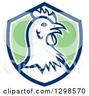 Clipart Of A Retro Chicken Hen Head In A Blue White And Green Shield Royalty Free Vector Illustration by patrimonio