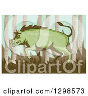 Retro Woodcut Green Razorback Boar Pig In The Woods With A White Border