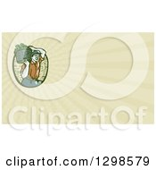 Clipart Of A Retro Woodcut Male Farmer Carrying A Basket Of Harvest Vegetables On His Shoulder And Pastel Green Rays Background Or Business Card Design Royalty Free Illustration