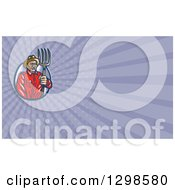 Clipart Of A Retro Woodcut Male Farmer Holding A Pitchfork And Purple Rays Background Or Business Card Design Royalty Free Illustration