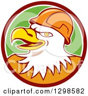 Clipart Of A Cartoon Bald Eagle Construction Worker Wearing A Hardhat In A Maroon White And Green Circle Royalty Free Vector Illustration