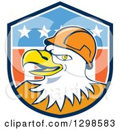 Clipart Of A Cartoon Bald Eagle Construction Worker Wearing A Hardhat In An American Shield Royalty Free Vector Illustration