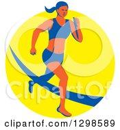 Retro Female Marathon Runner Over A Yellow Circle