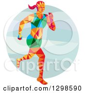 Clipart Of A Low Poly Female Marathon Runner Over A Circle Royalty Free Vector Illustration
