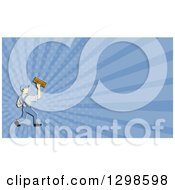 Cartoon White Male Plasterer And Purple Rays Background Or Business Card Design